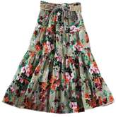 CRAZY Women's Girl's Bohemian Cotton Floral Pleated Midi Skater Skirt Beach Dress