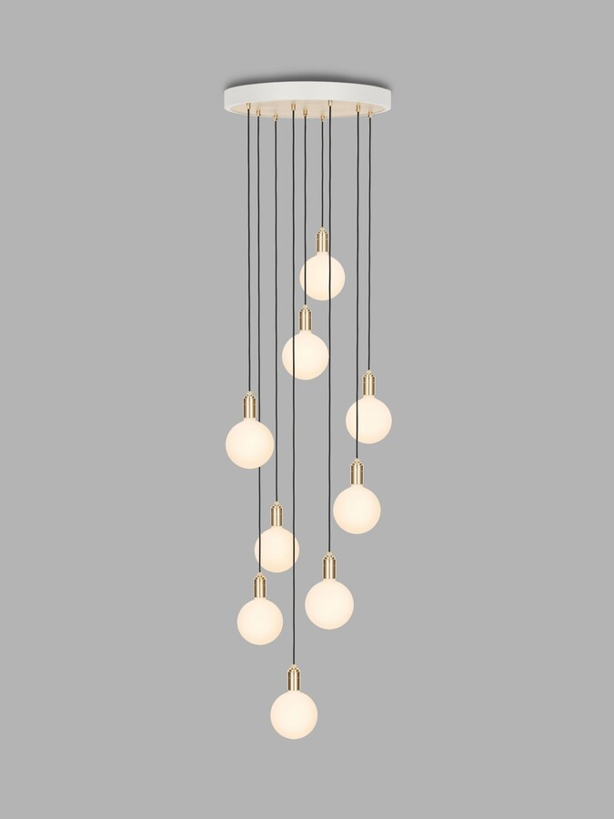 Tala Brass Nine Pendant Cluster Ceiling Light with Sphere IV ES LED Dim to Warm Globe Bulbs, White