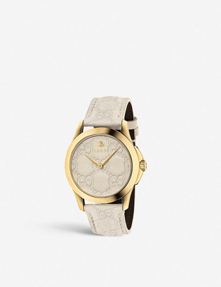 Gucci YA1264333 G-timeless PVD yellow-gold and leather watch