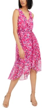 INC International Concepts Inc Mosaic-Floral Chiffon Dress, Created for Macy's