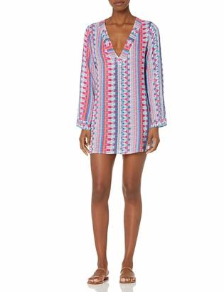 La Blanca Women's V-Neck Tunic Cover Up Dress