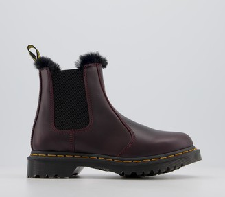 Dr. Martens 2976 Leonore Fur Lined Chelsea Boots Oxblood Atlas