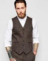 Asos Slim Waistcoat In Brown Harris Tweed 100% Wool
