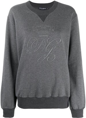 Dolce & Gabbana Logo-Embroidered Long-Sleeve Sweatshirt
