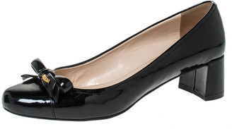 Prada Sport Patent Leather Bow Round Toe Pumps Size 39