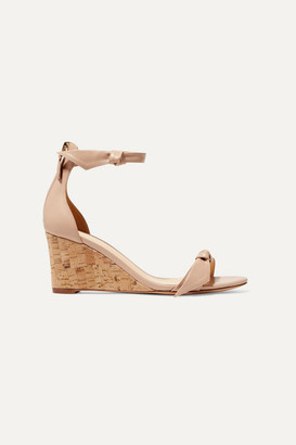 Alexandre Birman Clarita Bow-embellished Leather Wedge Sandals