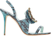 Manolo Blahnik Snakeskin Ronda Jeweled Sandals
