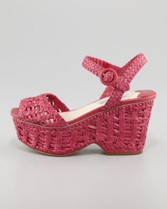 Prada Woven Leather Wedge Sandal, Pink