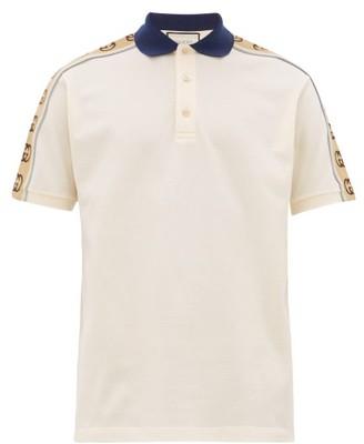 Gucci Logo-tape Stretch-cotton Pique Polo Shirt - Beige Multi