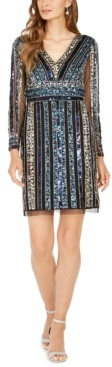 Adrianna Papell Striped Embellished Sheath Dress