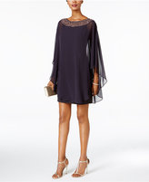 Xscape Evenings Embellished Chiffon Cape-Overlay Dress