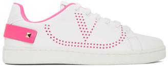 Valentino White and Pink Garavani VLogo Backnet Sneakers
