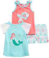 Nannette 3-Pc. Graphic-Print Tank Top, T-Shirt and Shorts Set, Little Girls (4-6X)
