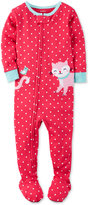 Carter's 1-Pc. Dot-Print Cat Footed Pajamas, Toddler Girls (2T-4T)