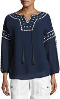 XCVI Arlene Embroidered-Trim Tunic, Navy