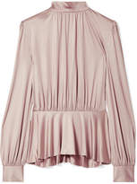 Co Pleated Stretch-satin Jersey Peplum Blouse