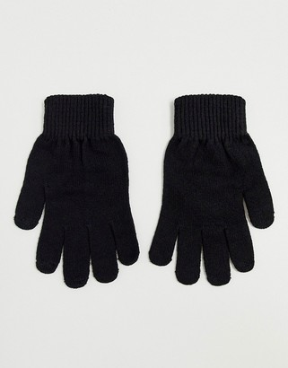 ASOS DESIGN touch screen gloves in recycled polyester in black