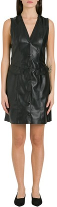 Nanushka V-Neck Faux Leather Dress