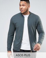Asos PLUS Muscle Fit Jersey Bomber Jacket In Blue