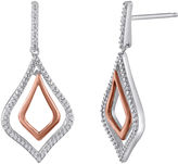 JCPenney FINE JEWELRY 1/5 CT. T.W. Diamond Sterling Silver and Rose Gold Drop Earrings