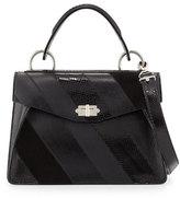 Proenza Schouler Hava Medium Striped Top-Handle Satchel Bag, Black