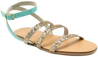 Pieces Harbor Grey Glitter Strips Flat Sandals - 36 - Grey