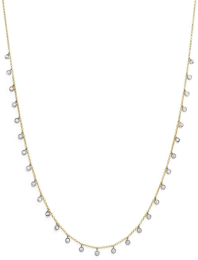 """Meira T 14K Yellow and White Gold Diamond Bezel Dangle Necklace, 15"""""""