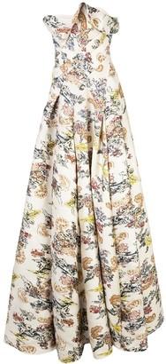 Oscar de la Renta Floral Fil Coupe Gown
