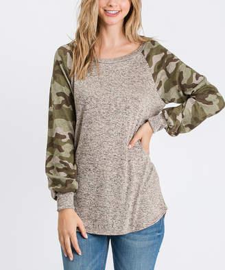 Cool Melon Women's Tee Shirts Hacci - Oatmeal Camouflage Hacci Cuffed Raglan Tee - Women & Plus