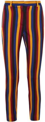 Rokh Cropped Striped Cotton And Wool-blend Jacquard Slim-leg Pants