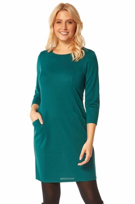 Roman Originals Women Relaxed Pocket Shift Dress - Ladies Everyday Daywear Workwear Office Business Relaxed Comfy Knee Length 3/4 Sleeve Jersey Shift Dress - Navy - Size 20