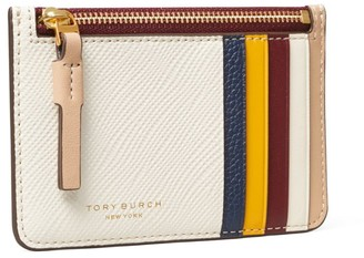 Tory Burch Perry Color-Block Top-Zip Card Case
