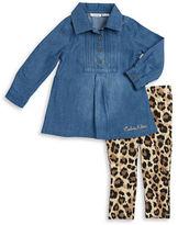 Calvin Klein Girls 2-6x Denim Tunic and Animal Print Leggings
