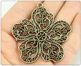 Nobrand No brand 8pcs 1pcs 56*52mm antique bronze color Large flowers charms