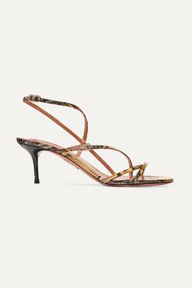 Aquazzura Carolyne 60 Elaphe Sandals - Snake print
