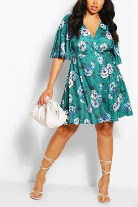 boohoo Plus Wrap Front Angel Sleeve Dress