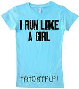 Micro Me Aqua 'I Run Like A Girl' Tee - Infant, Toddler & Girls