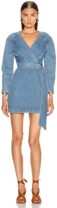 Jonathan Simkhai Wrap Mini Dress in Medium Indigo | FWRD