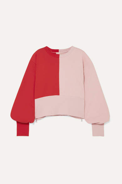 Vaara Maeve Cropped Color-block Cotton-blend Jersey Sweatshirt - Red