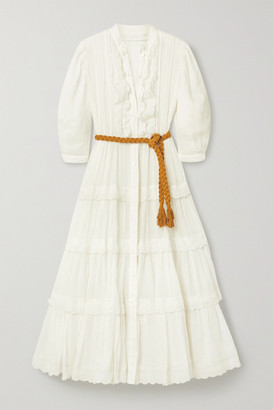 Zimmermann Amelie Belted Tiered Scalloped Ramie Midi Dress - Ivory