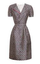 Oscar de la Renta Printed Silk-Blend V-Neck Dress