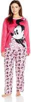 Disney Women's Ladies Minky Pajama Set Minnie Plus