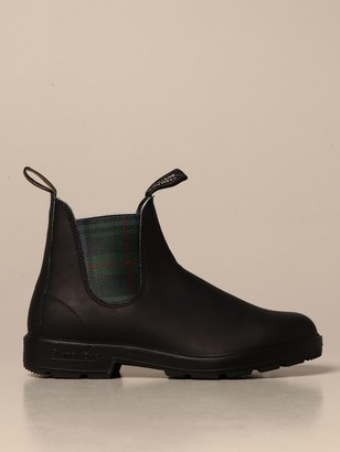 Blundstone Ankle Boot In Rubberized Leather With Check Bands