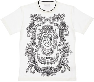 Dolce & Gabbana Lion Print Cotton Jersey T-Shirt