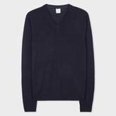 Paul Smith Men's Merino-Wool Navy V-Neck Sweater