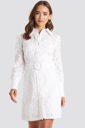 NA-KD Anglaise Collar Mini Dress White