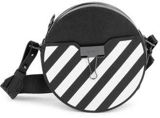 Off-White Diagonal Binder Clip Round Leather Crossbody Bag