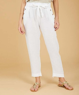 Ornella Paris Women's Casual Pants - White Tie-Waist Linen-Blend Straight-Leg Pants - Women & Plus