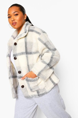 boohoo Plus Check Teddy Faux Fur Button Up Coat