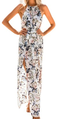 Tosonse Floral Off Shoulder Dresses for Women Summer Beach Sleeveless Halter Split Maxi Dress